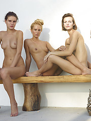 Three young girls in erotic photo session