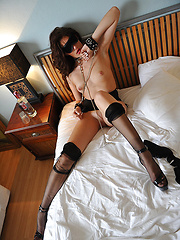 Skinny girl in stockings acts in a hot fetish scene