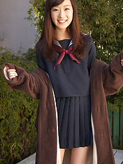 Teen Kana Yuuki is schoolgirl with nice face and slender figure