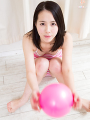 Cute Japanese sister Monika-chan plays with a pink bouncy ball and shows off tight teen camel toe!